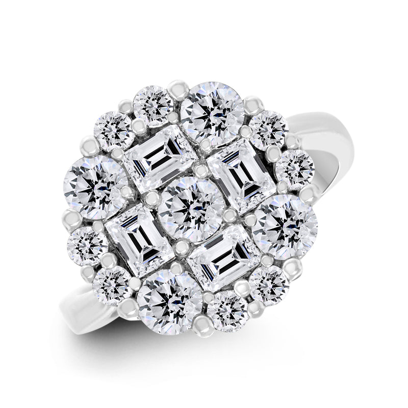 Signet Diamond Ring (1.95 ct Diamonds) in White Gold