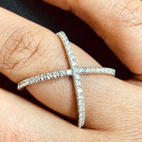 Xena Diamond Cross Ring (0.57 ct Diamonds) in White Gold