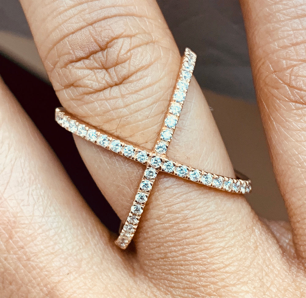 Xena Diamond Cross Ring (0.53 ct Diamonds) in Rose Gold