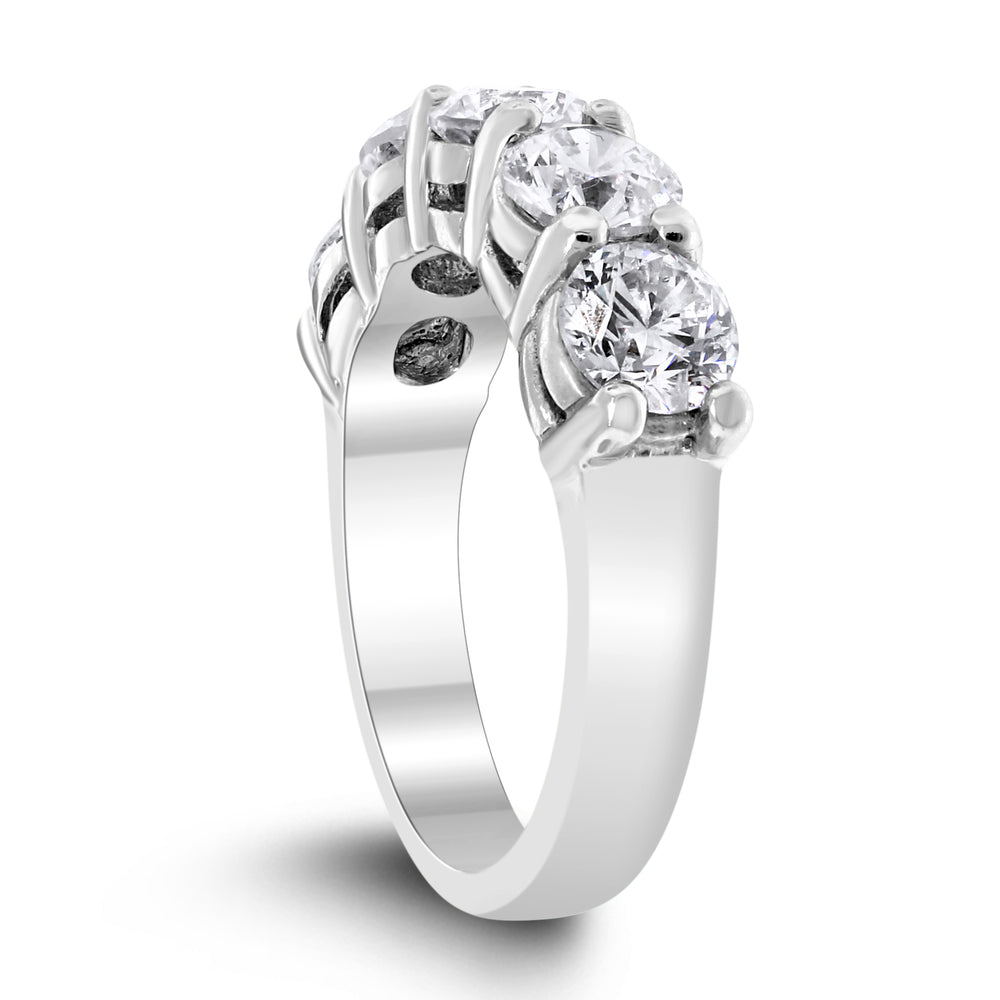 5 Stone Diamond Ring (2.53 ct Diamonds) in White Gold