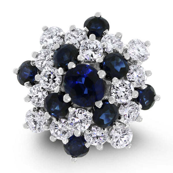 Glory of Snow Ring (2 ct Diamonds & Sapphires) in White Gold