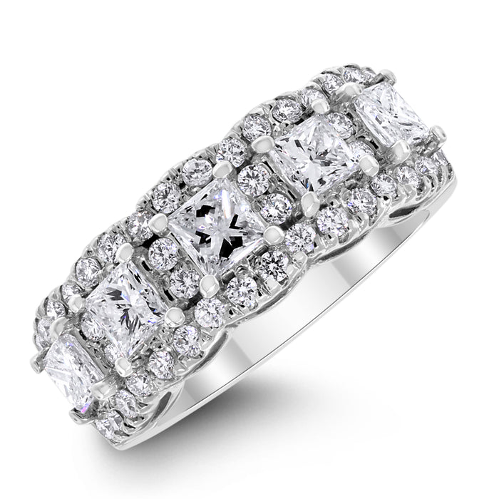 Elana Halo Diamond Band (2.00 ct Diamonds) in White Gold