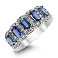 Starry Night Sapphire & Diamond Band (1.73 ct Diamonds & Sapphires) in White Gold