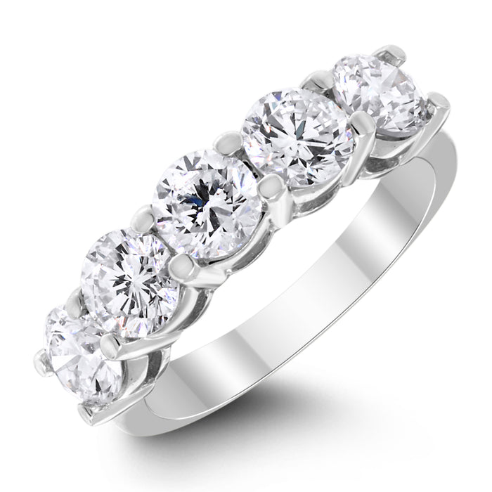 5 Stone Diamond Ring (2.00 ct Diamonds) in White Gold