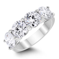 4 Stone Diamond Ring (3.94 ct Diamonds EGLUSA) in White Gold