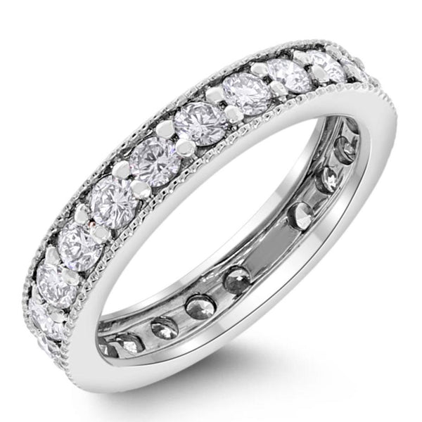 Diamond Eternity Channel Milgrain Band (1.33 ct Diamonds) in White Gold