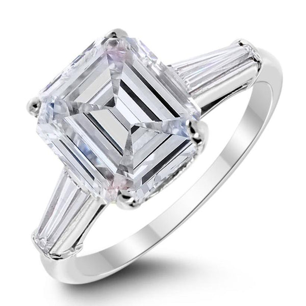 Lusture Engagement Ring (3.08 ct Emerald Cut KSI1 GIA Diamond) in Platinum
