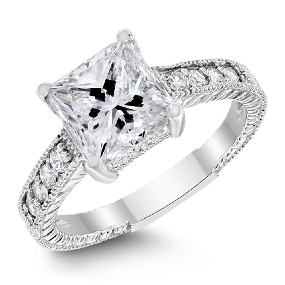 Rene Engagement Ring (2.29 ct Princess IVS1 EGLUSA Diamond) in Platinum