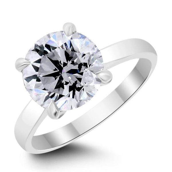 Solitaire Engagement Ring (3.01 ct Round JSI1 GIA Diamond) in Platinum