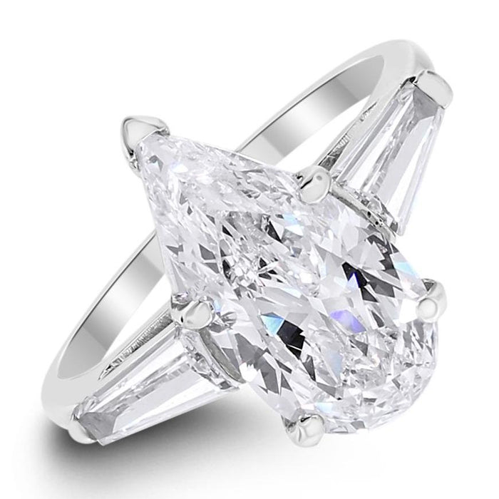 Liliana Engagement Ring (3.47 ct Pear Shape HSI2 EGLUSA Diamond) in Platinum