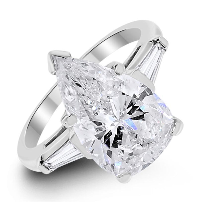 Emilia Engagement Ring (3.47 ct Pear Shape ISI1 EGLUSA Diamond) in Platinum
