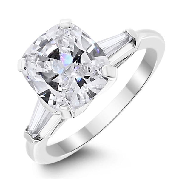 Cushion & Baguettes Engagement Ring (2.10 Cushion GVS1 GIA Diamond) in Platinum