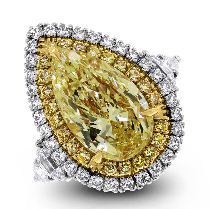 Illuminati Ring (8.85 ct Pear Shape Fancy Yellow GIA Diamond) in Platinum