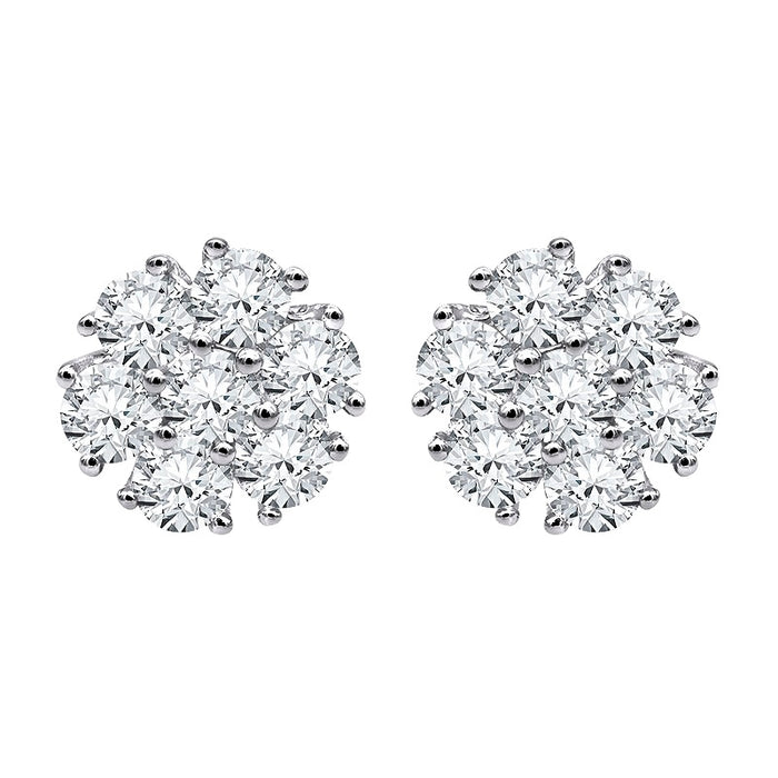 Flower Cluster Diamond Studs (1.38 ct Diamonds) in White Gold