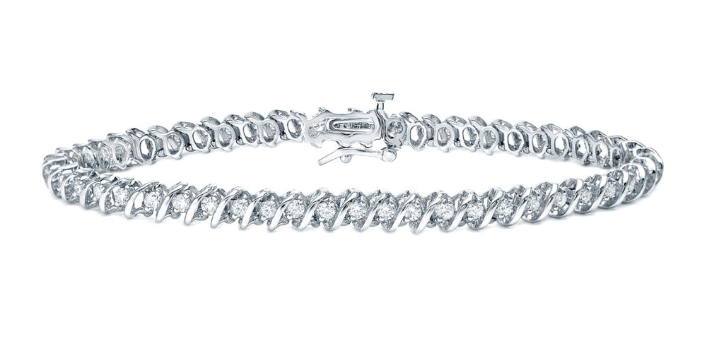 S-Link Diamond Bracelet (4.67 ct Diamonds) in White Gold