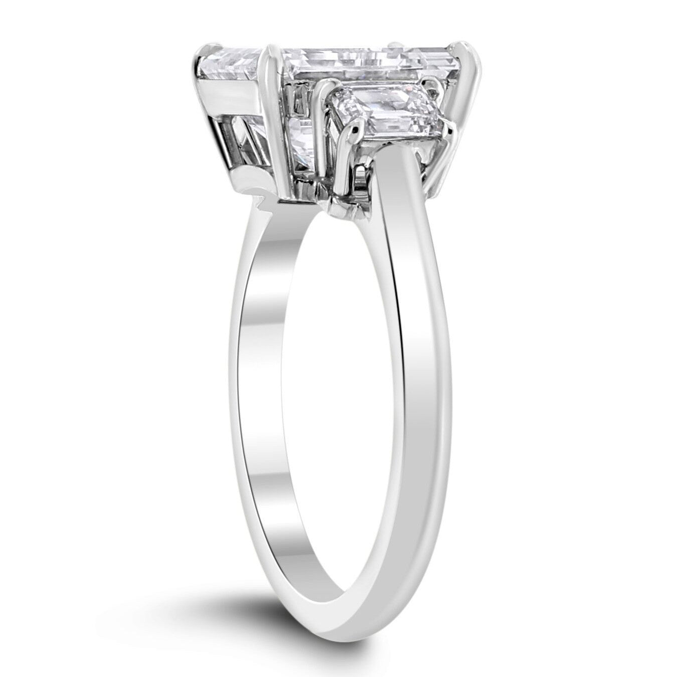 Lumina Engagement Ring (5.82 Emerald Cut IVVS2 IGI Diamond) in Platinum