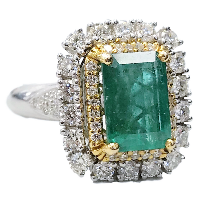 Diamond Halo Emerald Ring
