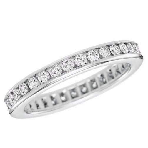 Diamond Eternity Channel Band (1.30 ct Diamonds) in White Gold