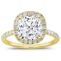 Halo Engagement Ring (2.23 ct Cushion JVVS2 EGLUSA Diamond) in Yellow Gold