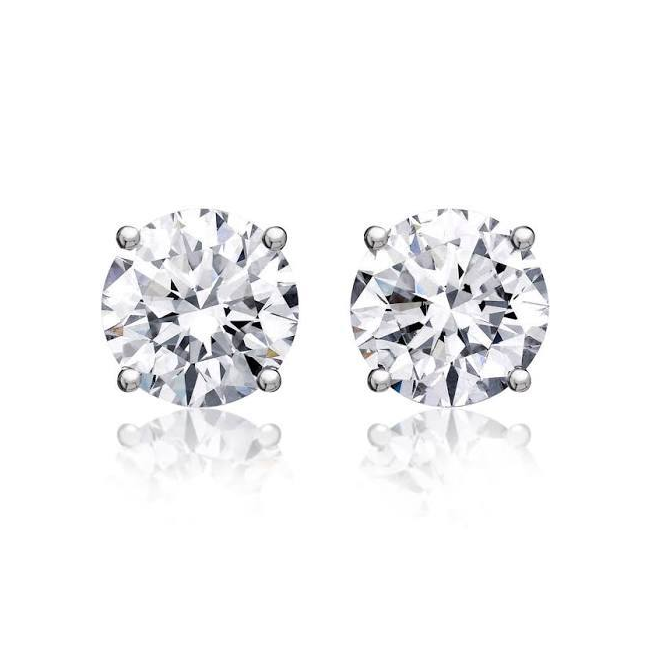 Round Solitaire Diamond Studs (1.71 ct Diamonds) in White Gold