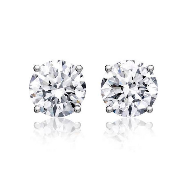 Round Solitaire Diamond Studs (5.03 ct Round GH I Diamonds) in White Gold
