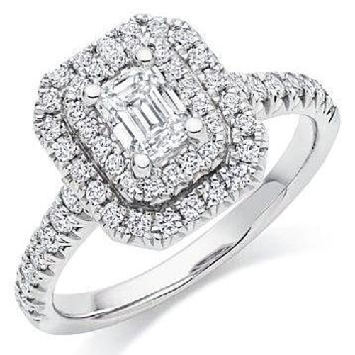Double Halo Engagement Ring (1.00 ct Emerald Cut FVS1 GIA Diamond) in White Gold
