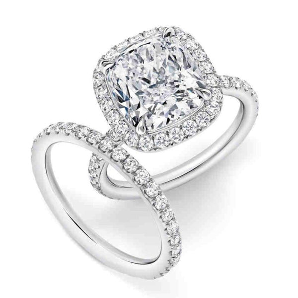 Halo Engagement Ring Bridal Set (2.01 ct Cushion ISI1 GIA Diamond) in White Gold
