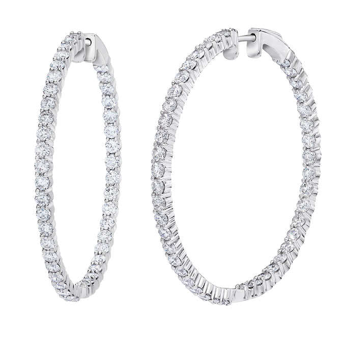Round Diamond Hoops (4.41 ct Diamonds) in White Gold