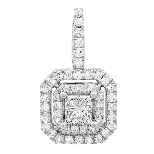 Princess Solitaire Halo Pendant (1.37 ct)