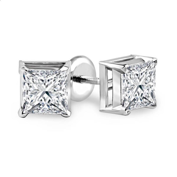 Princess Solitaire Diamond Studs (0.46 ct Diamonds) in White Gold
