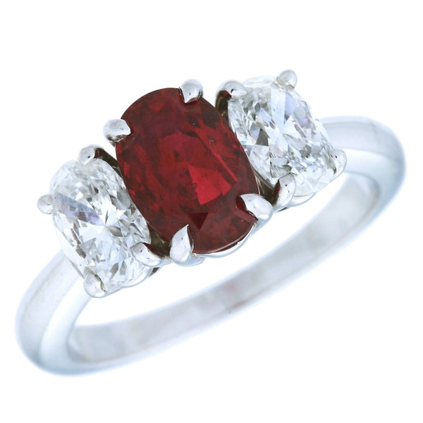 Rosa Pigeon Blood Ruby & Diamond Ring (3.43 ct Ruby & Diamonds) in Platinum