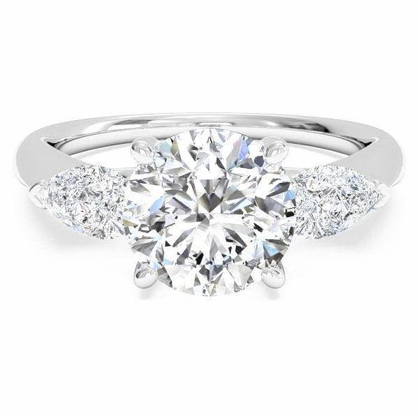 Trinity Engagement Ring (2.25 ct Round HVS1 EGLUSA Diamond) in White Gold