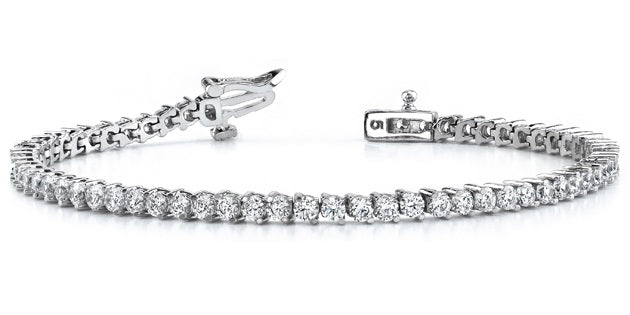 2 Prong Diamond Tennis Bracelet (3.53 ct Diamonds) in White Gold
