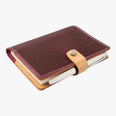 Bainbridge Leather Cover for A6 Notebooks - Purple / Russet