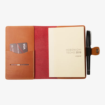 Bainbridge Leather Cover for A6 Notebooks - Red / Tan