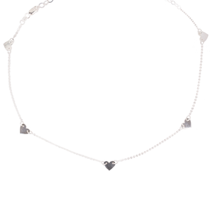 Collar 5 Mini Corazones Plata