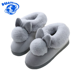 HUANQIU 2017 Lovely Rabbit ears Soft Home Slippers Cotton Warm Women's Winter Slippers Casual Indoor Slippers In 4 colors PP25