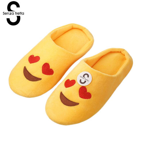 Senza Fretta Women Shoes New Winter Warm Slippers Indoor Floor Slippers Non-slip Soft Home Slippers Women Funny Emoji Slippers