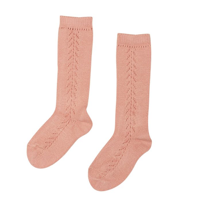 DUSTY PINK OPENWORK HIGH SOCKS