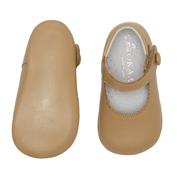 LUCA & LUCA camel mary janes pram shoes