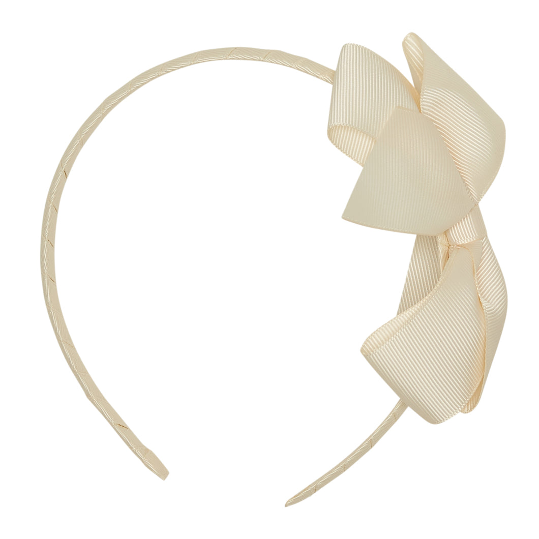 LUCA & LUCA childrenswear cream extra large bow ribbon hairband