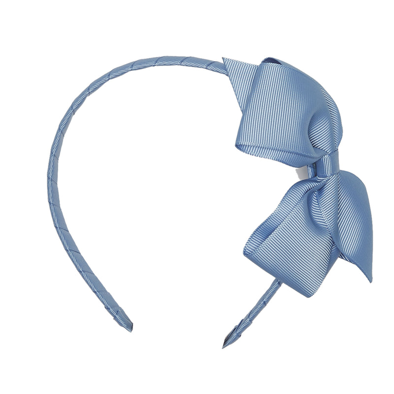 LUCA & LUCA childrenswear dusty blue extra large bow ribbon hairband