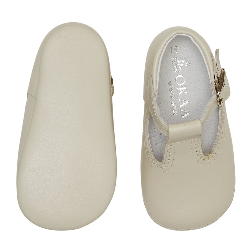 LUCA & LUCA ivory t-bar pram shoes