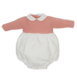 LUCA & LUCA Pale pink knitted Vigo romper front