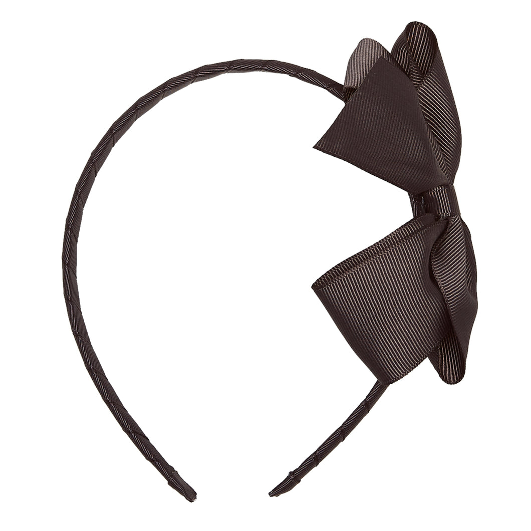 LUCA & LUCA childrenswear dark grey extra large bow ribbon hairband