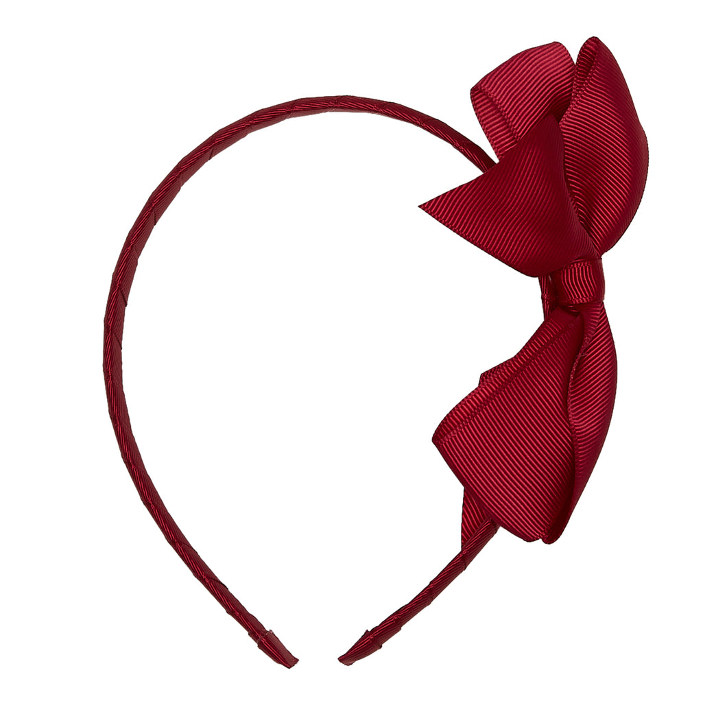 LUCA & LUCA childrenswear burgundy extra large bow ribbon hairband