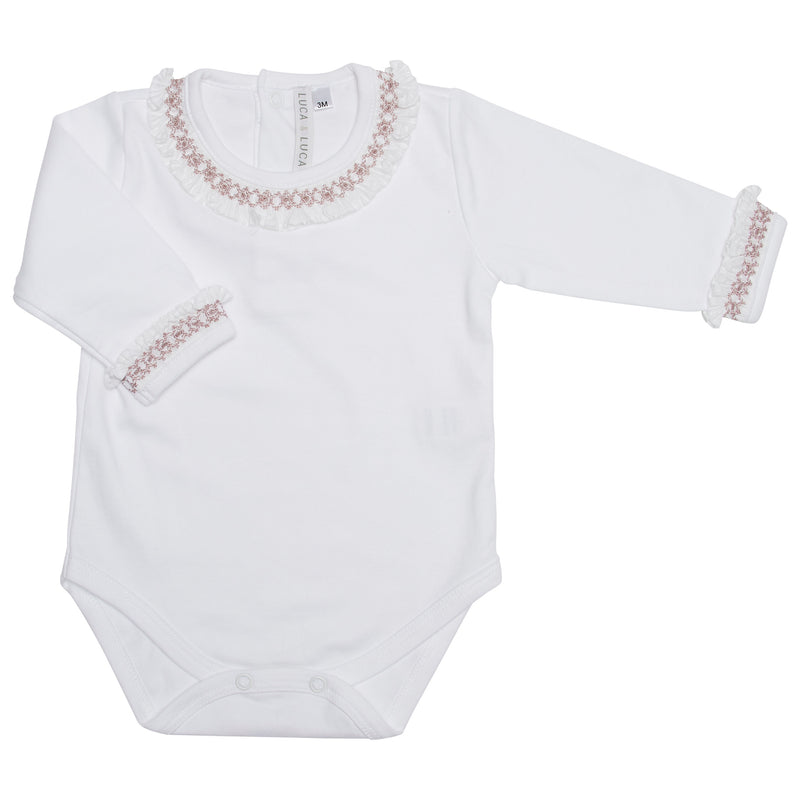 PALE PINK HAND-SMOCKED BODYSUIT