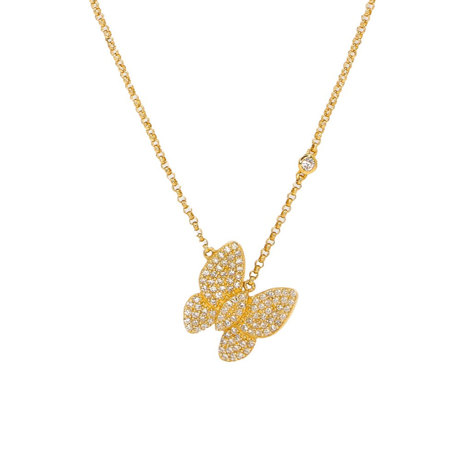 Gold Butterfly Necklace with Diamond Bezel  - 14KT Gold - Monisha Melwani Jewelry