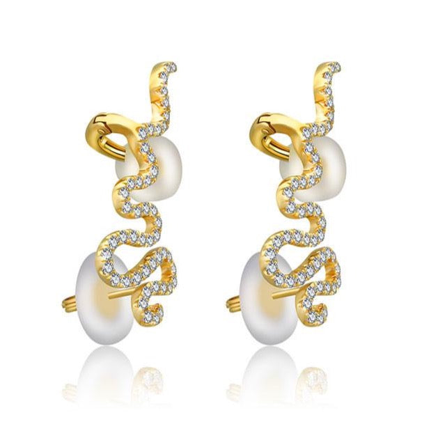 Gold Long Diamond Snake Diamond Ear Climber