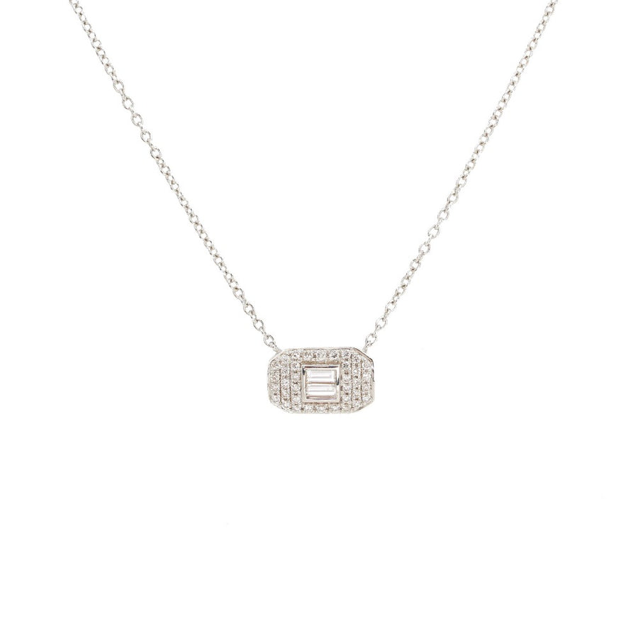 18KT White Gold Pave Diamond Baguette Necklace- Monisha Melwani Jewelry